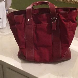Red Coach Overnight Bag Computer Bag or Carry All